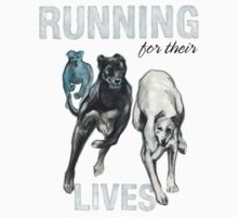 Running for their Lives Greyhound Tee by mwashburnart