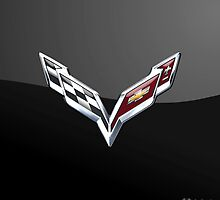 Chevrolet Corvette 3D Badge-Logo on Black by Captain7
