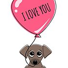 Cute puppy dog holding heart balloon with text I love you Valentine's day card by MheaDesign