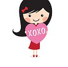 Girl holding heart - XOXO Happy Valentine's day card by MheaDesign