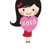 Girl holding heart - XOXO Happy Valentine's day card by MheaDesign