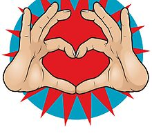 Pop Art Hand Heart Hand Sign by jorgenmac