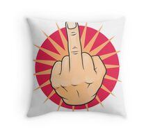 Vintage Pop Art Middle Finger Up Gesture. Throw Pillow