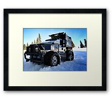 Snowboarder chairlift (pirate 4x4) Framed Print