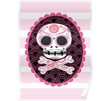 Pink Sugar Skull Vector Poster