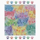 Chalk drawing of cats by Toru Sanogawa