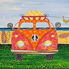 Combie Campers (Orange) by Lisa Frances Judd ~ QuirkyHappyArt
