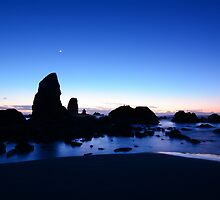 Crescent Moon Over The Needles by Jennifer Hulbert-Hortman