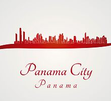 Panama City skyline in red by paulrommer