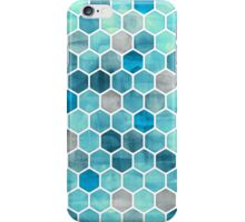 Blue Ink - Watercolor hexagon pattern iPhone Case/Skin