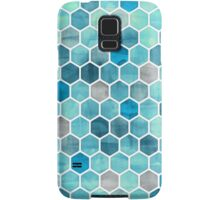 Blue Ink - Watercolor hexagon pattern Samsung Galaxy Case/Skin