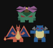 Kanto Starters fully evolved by Gefemon2