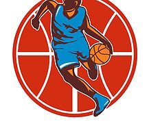 Basketball Player Dribble Ball Front Retro by patrimonio