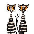 VALENTINE CATS IN LOVE by Hares & Critters