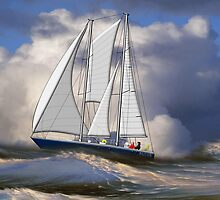 Pagan the Damien II Staysail Schooner in Rough Seas by Dennis Melling
