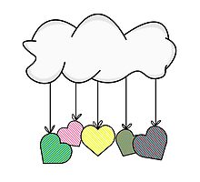 Cloud holding colorful strip hearts by YellowRabbit