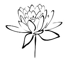 Lotus Flower Calligraphy Print (Black) by Makanahele