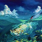 """Caribbean Seascape with Tarpon & Shark - """"A Place I Would Rather Be"""" by Mike Savlen"""