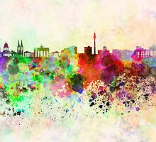 Berlin skyline in watercolor background by Pablo Romero
