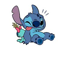 Cute Stitch and his toy Photographic Print