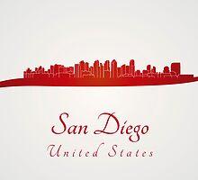 San Diego skyline in red by paulrommer