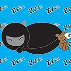 Ninja Kitty and Mouse Sleeping by ValeriesGallery