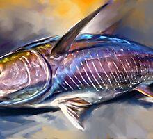 """Yellowfin Tuna Sportfishing Art - """"Where's My Wasabi""""  by Mike Savlen"""