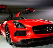 Red 2014 MERCEDEZ BENZ SLS AMG by Jerome Obille