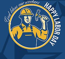 Happy Labor Day Worker Greeting Card by patrimonio