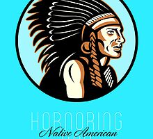 Honoring Native American Day Retro Greeting Card by patrimonio