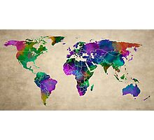 MAP of the WORLD ANTIQUE Photographic Print