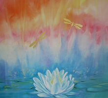 Lotus with dragonflies by Jane Delaford Taylor