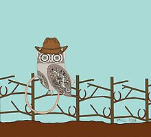 Cowboy Owl On Fence by smallforkdesign
