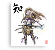 Zelda in Samurai armor with Japanese Calligraphy Canvas Print