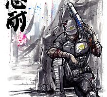 Admiral Anderson from Mass Effect with Japanese Calligraphy by Mycks