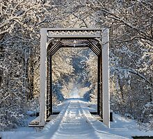 Snowy Train Trestle by Kenneth Keifer