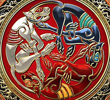 Celtic Treasures - Three Dogs on Gold and Red Velvet by Captain7