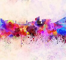 Manchester skyline in watercolor background by paulrommer