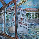 Watercolor Sketch - Tour Boats in Hamburg by Igor Pozdnyakov