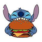 Stitch eating hamburger by LikeYou