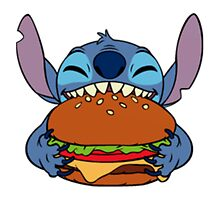 Stitch eating hamburger by LikeYou