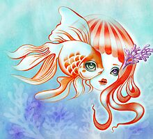 Dreamland Muses - Jellyfish Girl & Goldfish by sandygrafik