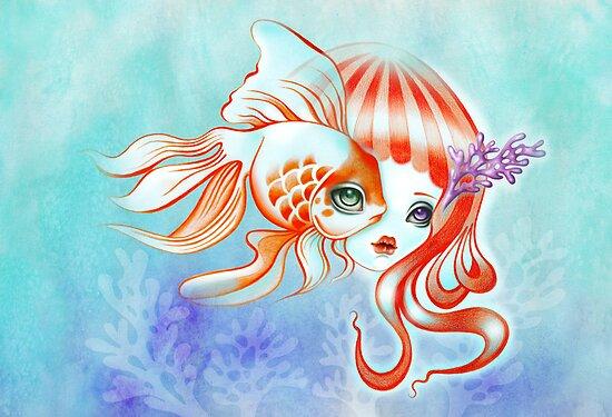 Dreamland Muses - Jellyfish Girl & Goldfish by sandygrafik