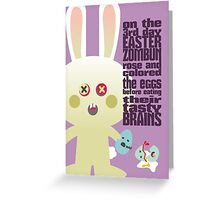 cute zombie bunny egg brains easter card Greeting Card