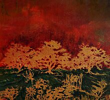Bathed In Gold (acrylic on Strathmore watercolour paper) by Doria