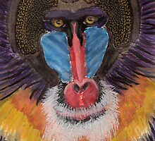 Artistic Freestyle Baboon Portrait with Red and Blue Face by ibadishi