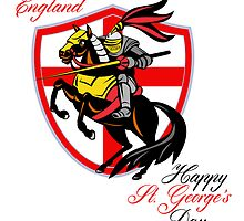 A Day For England Happy St George Day Retro Poster by patrimonio