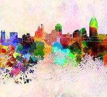 Cincinnati skyline in watercolor background by Pablo Romero
