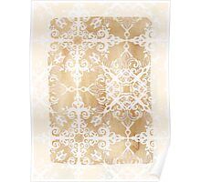 White Doodle Pattern on Sepia Ink Poster