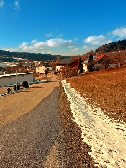 Country road in winter village scenery | landscape photography by Patrick Jobst